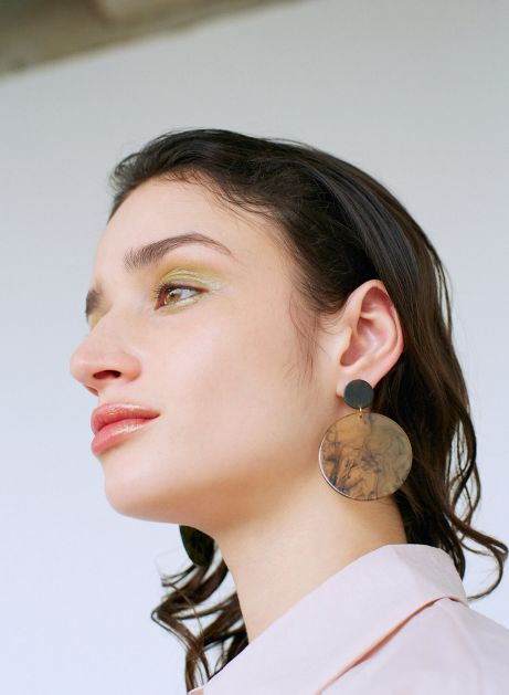 classical marble asymmetry earring