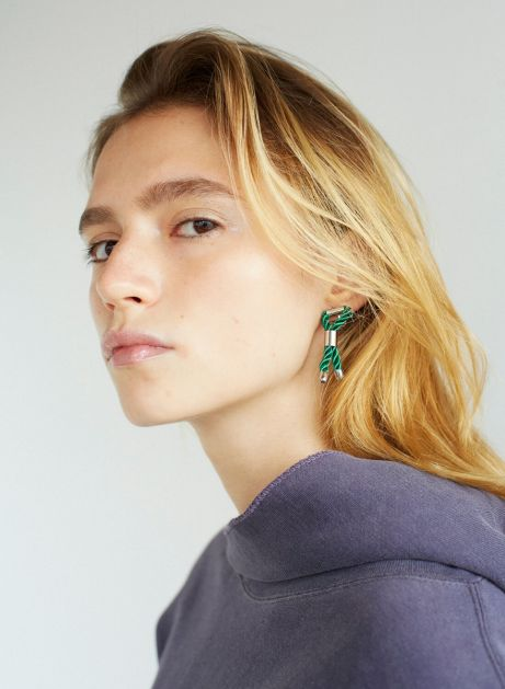 tie chain asymmetry earring