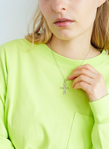 puff cross necklace