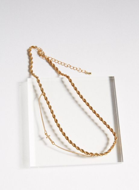 cross hang layered necklace