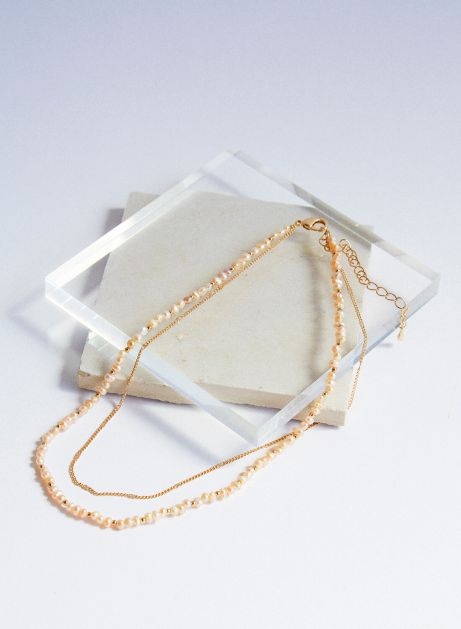 trace pearl chain necklace