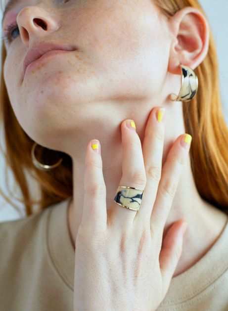 marble moon ring